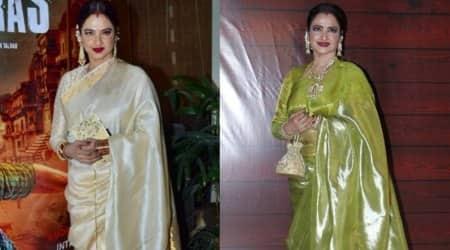 rekha birthday, sari, fashion