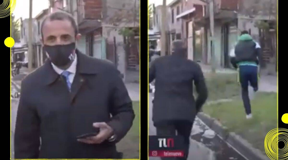 Argentina, TV reporter, Phone theft, Theft caught on live camera, Theft on live television, Viral video, phone theft caught on camera argentina, Trending news, Indian Express news.