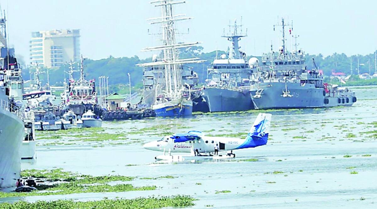 gujarat sea plane service, Sabarmati Riverfront. sea plane connecting Sabarmati Riverfront to statue of unity, seaplane from maldives arrives in gujarat, indian express news