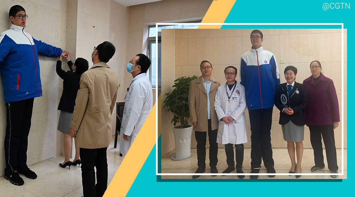 World's tallest teenager Guinness World Record, Guinness World Record tallest teen, Guinness World Record tallest teen boy, Guinness World Record, trending, indian express, indian express news