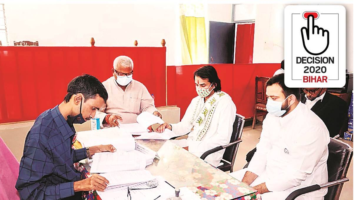 Bihar election, Bihar elections, Bihar assembly polls, Tej Pratapm Tej Pratap Mahua seat, Tej Pratap files nomination, Tej Pratap Hasanpur seat, Indian express