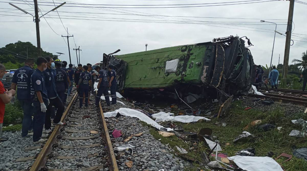 Bus-train collision in central Thailand leaves 17 dead