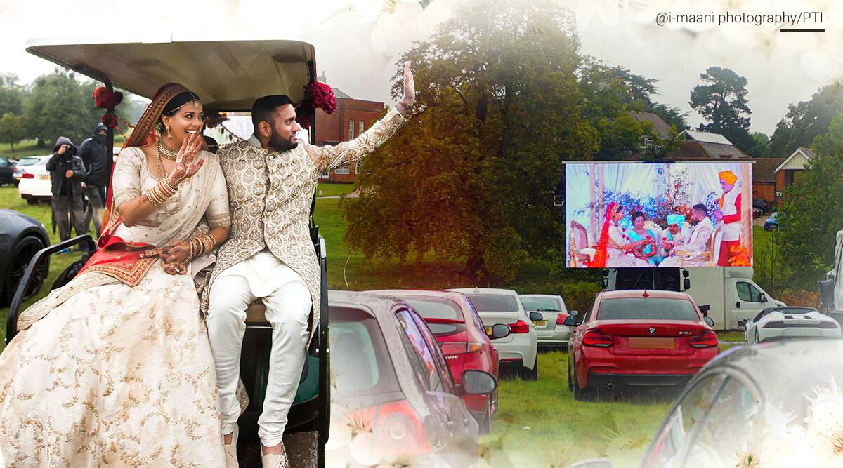 drive in wedding, indian couple drive in wedding, wedding coronavirus restrictions, UK drive in wedding, covid uk restrictions, viral news, indian wedding in UK, drive through wedding viral video, indian express