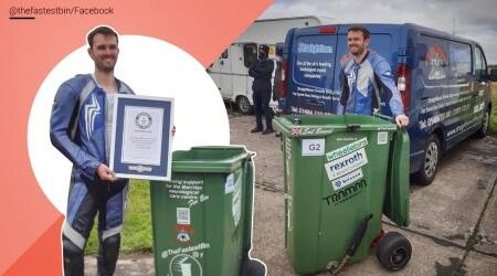 Fastest motorised garbage, UK, Guinness world record, World record, Andy Jennings, Fastest motorised garbage bin, Wheelie bin Guinness world record, Guinness book of records, Trending news, Indian Express news.