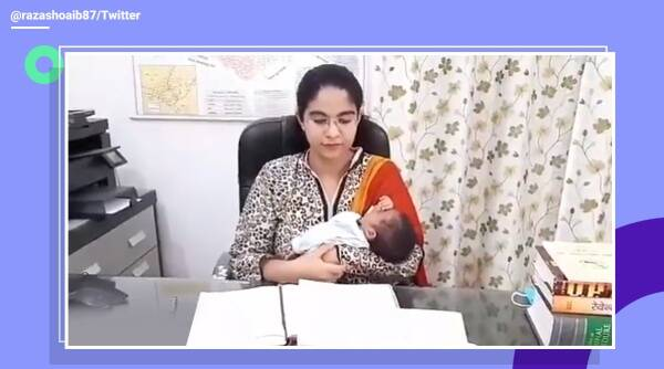 Sub-Divisional Magistrate officer Soumya Pandey, modi nagagr, officer takes 3 weeks baby office, baby viral video, UP, UP officer, trending, indian express, indian express news