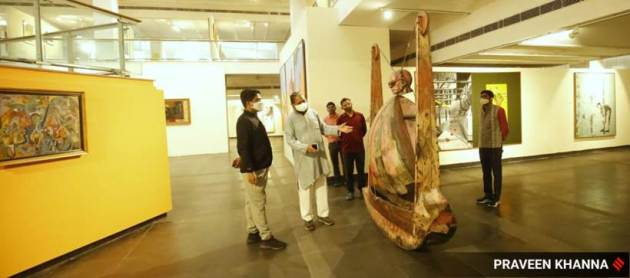 National Gallery of Modern Art, National Gallery of Modern Art reopens, National Gallery of Modern Art opens again, National Gallery of Modern Art in New Delhi, National Gallery of Modern Art opening, pandemic, National Gallery of Modern Art welcomes visitors, Indian Express news