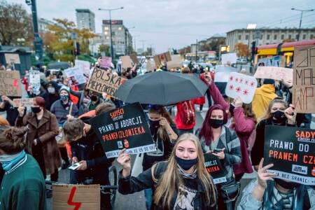 Protests in the cities of Poland against curbs on abortion.