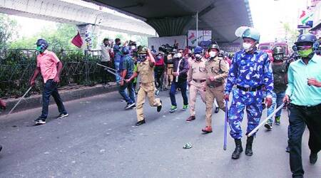 Kolkata: BJP workers clash with cops during protest march