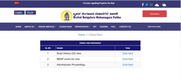 Bengaluru news, Bangalore news, Bruhat Bengaluru Mahanagara Palike, BBMP website, bbmp citizen view initiative, Indian express