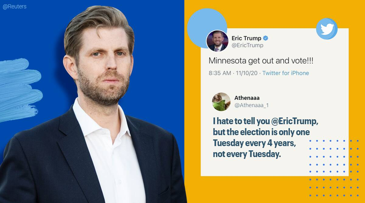Eric Trump, Minnesota, US election 2020, Donald Trump son Eric Trump, Eric Trump Minnesota vote tweet, Eric trump tweet gaffe, Eric Trump tweet scheduling error, Trending news, Trending news, Indian Express news.
