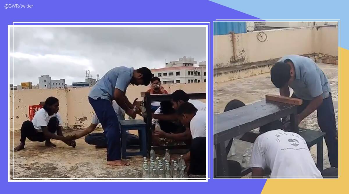 Guinness Book of world records, Removing bottle caps with head, Most number of bottle caps removed with head, Nellore man Guinness world records, Book of World Records, GWR, Guinness world records day, Viral video, Indian Express news.