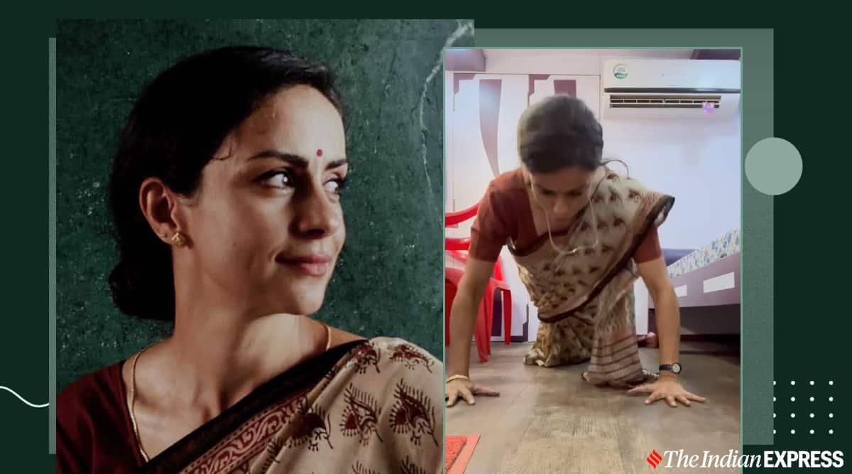 gul panag, pushups in saree, workout in a sari, sari workouts, can you workout in a sari, sari workout challenge, indianexpress.com, indianexpress,