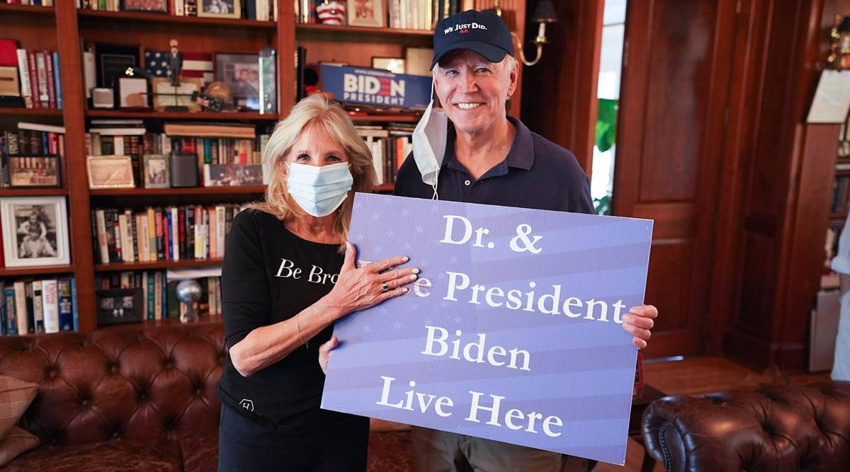 Joe Biden 'We Just Did', Donald Trump 'MAGA', Joe Biden cap, Joe Biden cap messaging for Donald Trump, Jill Biden, indian express news