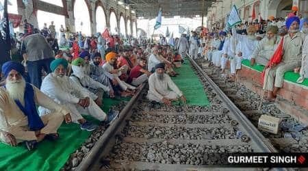 Farmers protest, Farmers protest Punjab, Punjab trains, Rail roko, Narendra Singh Tomar, Tomar on Farmers protests, Ladakh, China, Indian Express