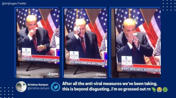 Rudy Giuliani, Rudy Giuliani press conference, Giuliani booger clip, Rudy Giuliani blows his nose and wipes it, Rudy Giuliani snot wiping clip, viral videos, indian express, us elections 2020
