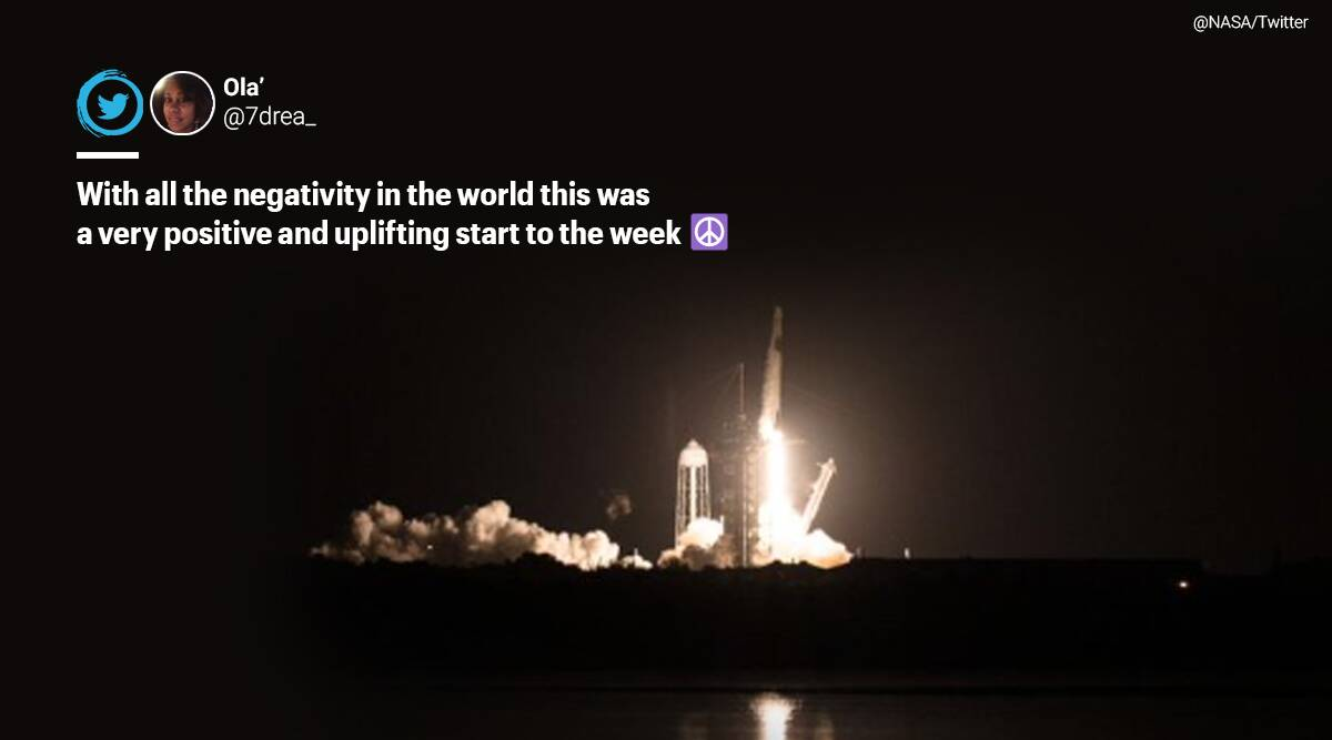 SpaceX, NASA, Twitter reaction, SpaceX Crew 1 mission, SpaceX Crew 1 mission launch, SpaceX Falcon 9, Space x Resilience, Space x to ISS, international space station, Elon musk, Space x second crew to space, #Spacex, #NASA, Space X and NASA, Trending news, Space travel, Indian express-news.