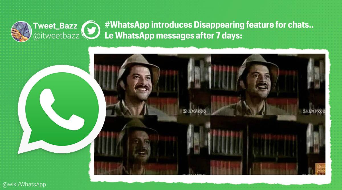 WhatsApp, disappearing messages, Twitter reaction memes, WhatsApp latest feature, WhatsApp disappearing chats option, WhatsApp disappearing chat memes, Trending news, Indian Express news.