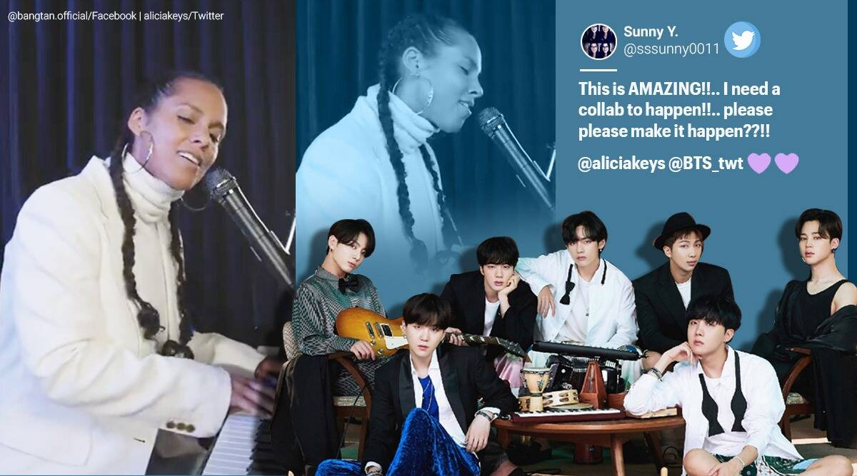 bts, alicia keys, bts life goes on, alicia keys bts cover, alicia keys life goes on cover, Alicia keys bts songs, BTS new 2020 song, BTS english cover, viral news, indian express