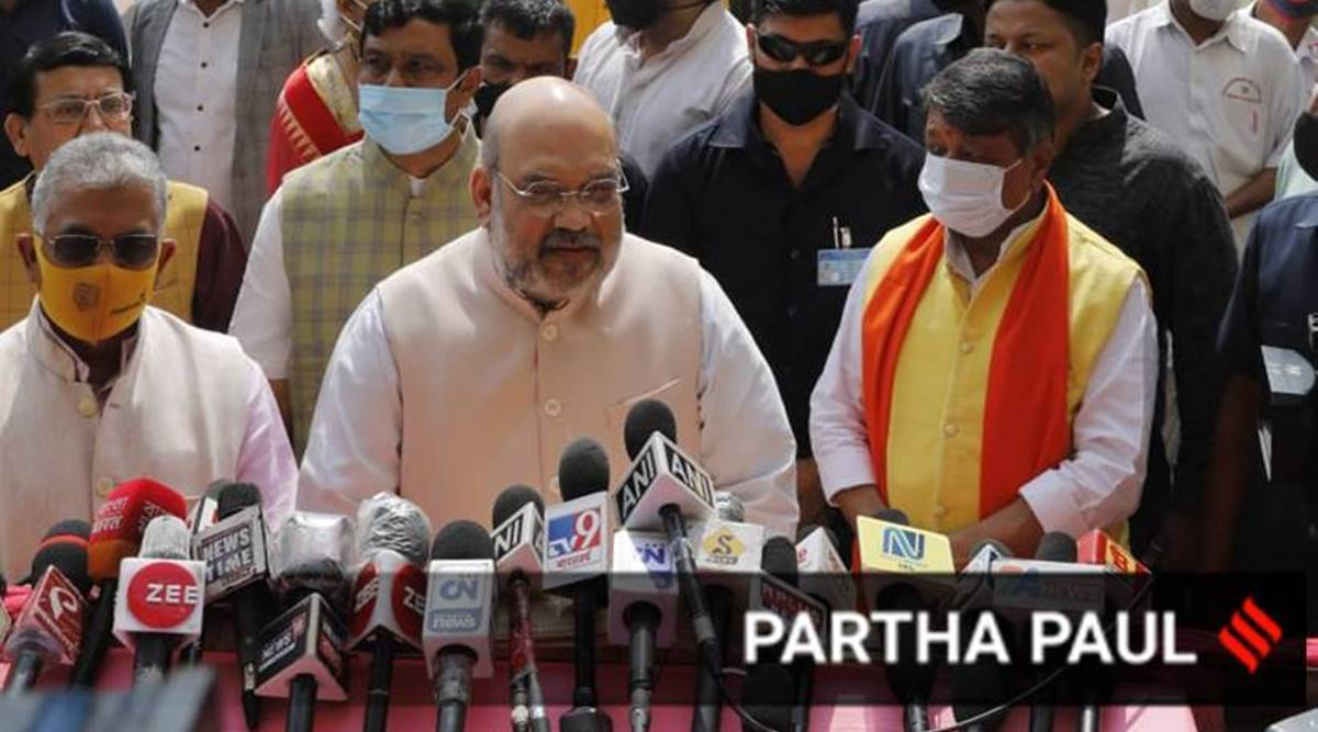Amit Shah in bengal, West Bengal assembly elections 2021, BJP campaign, Amit Shah in Bolpur, Suvendu Adhikari, Trinamool Congress, Indian Express News, Indian Exrpess