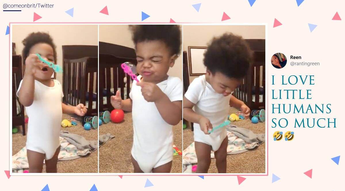 twins funny video, toddler funny video, babies fail to blow bubbles, boys blow bubbles videos, indian express, viral videos, spongebob blowing bubbles