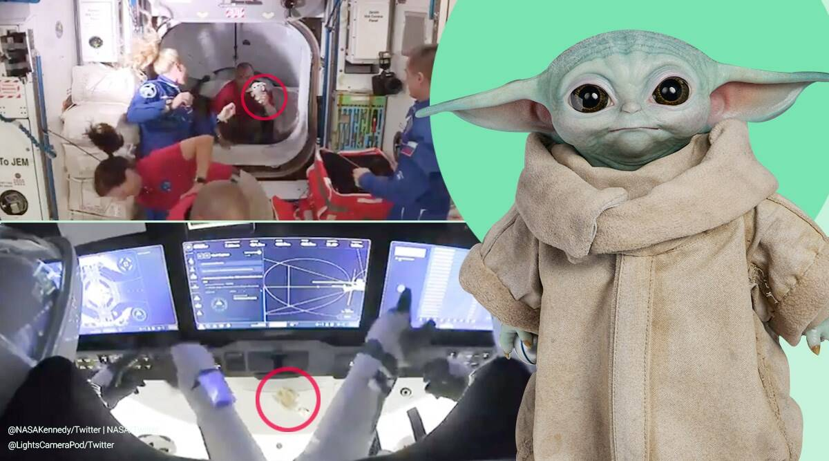 NASA, Crew Dragon, Crew-1, Crew-1 mission launch, baby yoda in space, baby yoda iss, baby yoda space x crew, SpaceX mission launch, Crew Dragon, zero G indicators, indian express