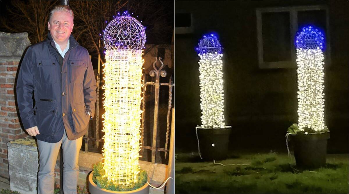 Oudenburg, Oudenburg christmas lights, penis shape lights Oudenburg, belgium town penis shaped lights, Oudenburg mayor apologise penis lights, viral news, indian express