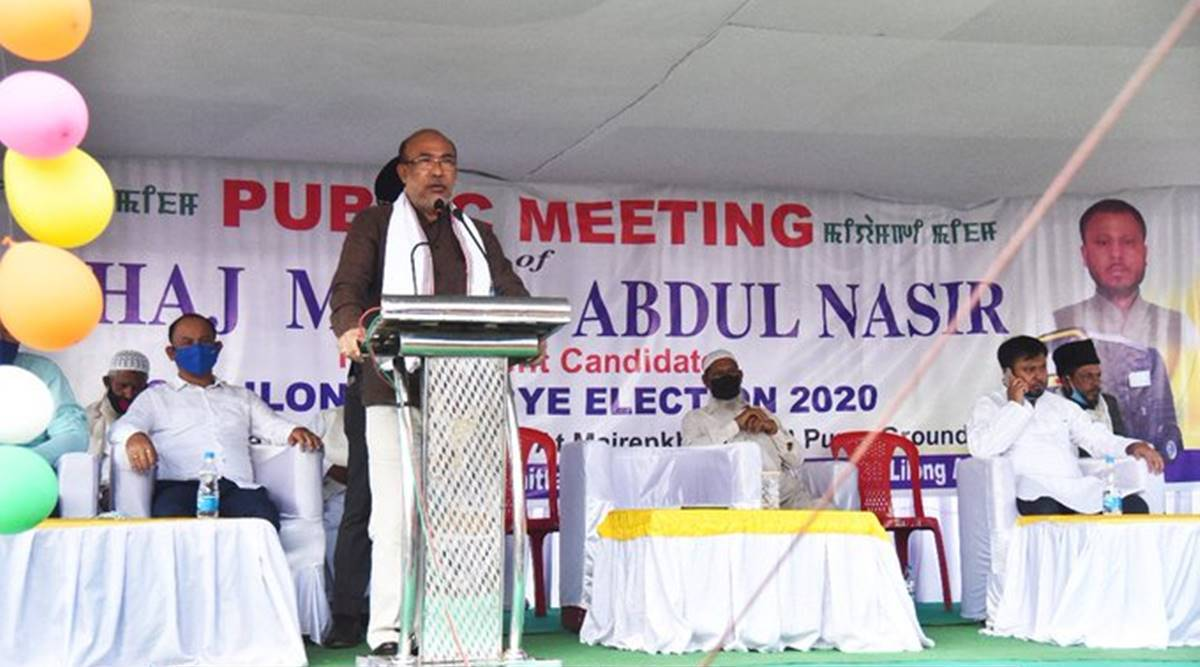 N biren singh, Lilong Assembly by-elections, Lilong bypoll candidates, prof suspnded lilong, Abdul Nasir, Y Antas khan, manipur news, indian express