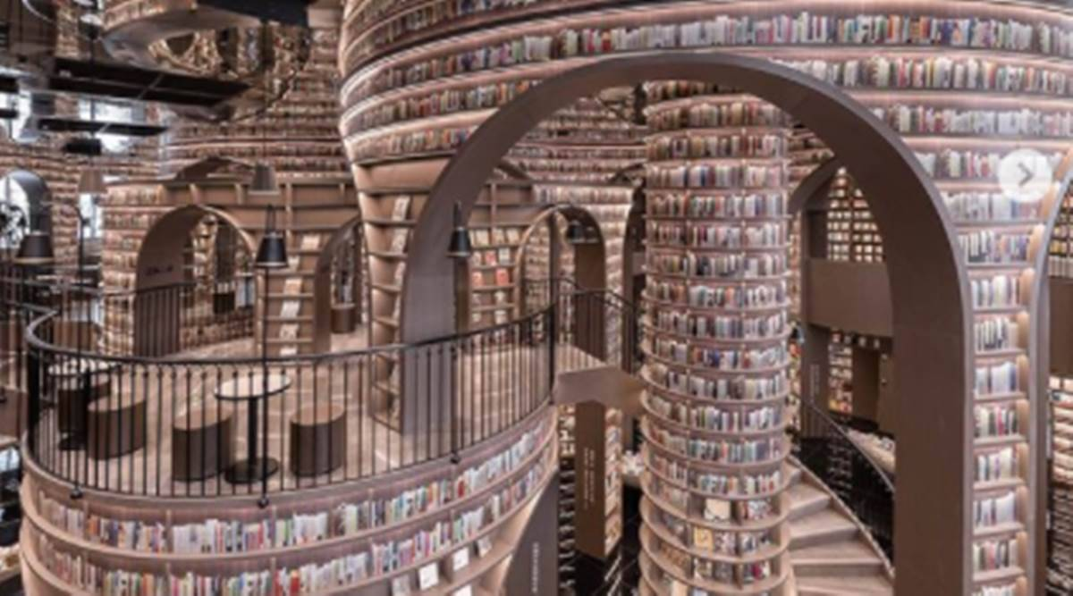 China bookstore, bookstore in China resembling Harry Potter world, magical bookstore in China, magical bookstore, Harry Potter, indian express news