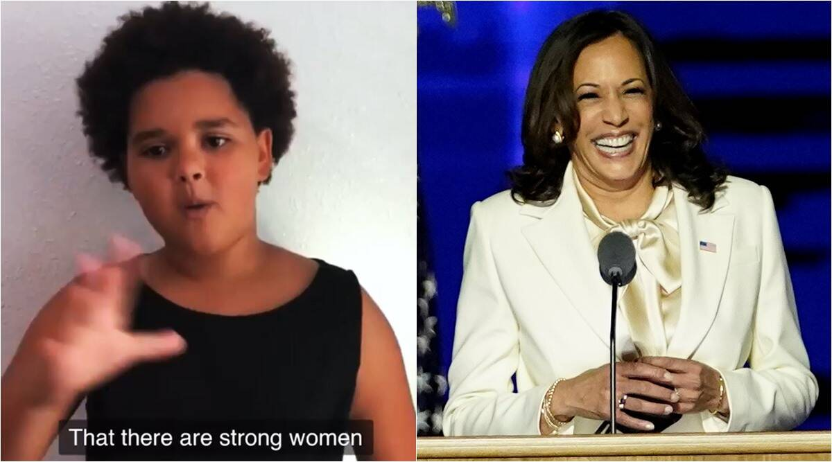 kamala harris, brown girl poem, kamala harris brown girl poem, Leslé Honoré brown girl poem, viral videos, us elections 2020, indian express,