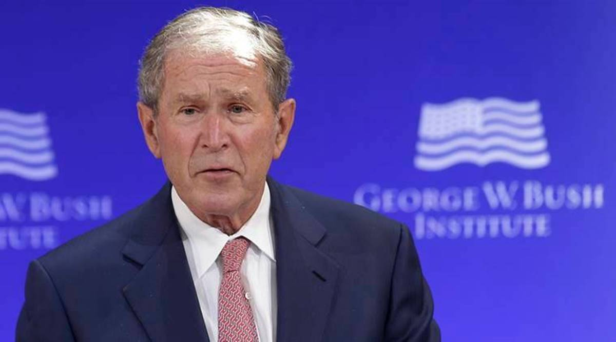 George bush, George bush joe biden, George bush kamala harris, George bush US elections, donald trump, indian express