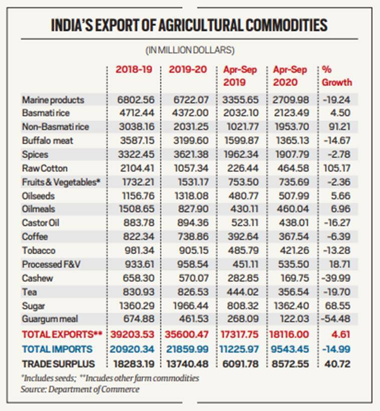 Explained: In a mirror of economy, agricultural exports grow amid overall decline