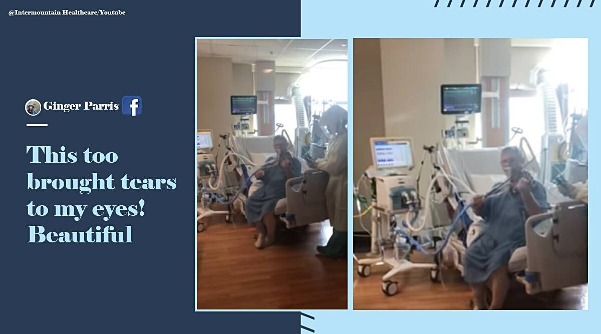 covid patient on ventilator plays violin, covid 19, covid patient ventilator, intubiated covid patient plays violin, covid patient plays violin ICU, viral videos, indian express