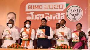 GHMC polls, greater Hyderabad municipal corporation polls, Hyderabad civic elections, BJP manifesto Hyderabad civic elections, TRS, AIMIM, Hyderabad news, indian express