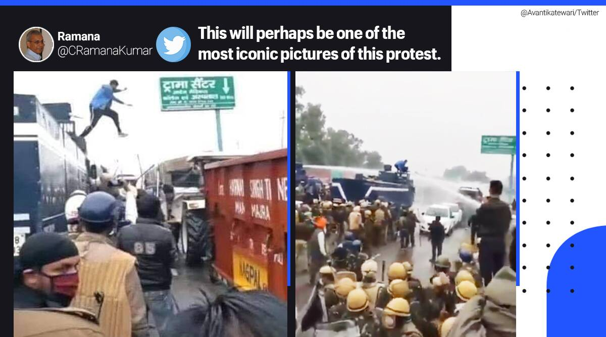 farmers protest, punjab farmers protest, farmers dilli chalo, punjab farmer protest, young protestor turn off water cannon, young farmer stop water cannon, navdeep singh turn off water cannon, viral news, indian express