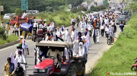 Haryana farmers protest, Farmers Delhi chalo march, tractor-trolleys rally, Chandigarh news, Haryana news, Indian express news