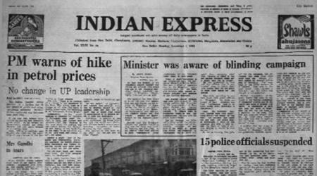 forty years ago, indian express forty years ago, indira gandhi, PM on prices, Bhagalpur blindings, PM breaks down