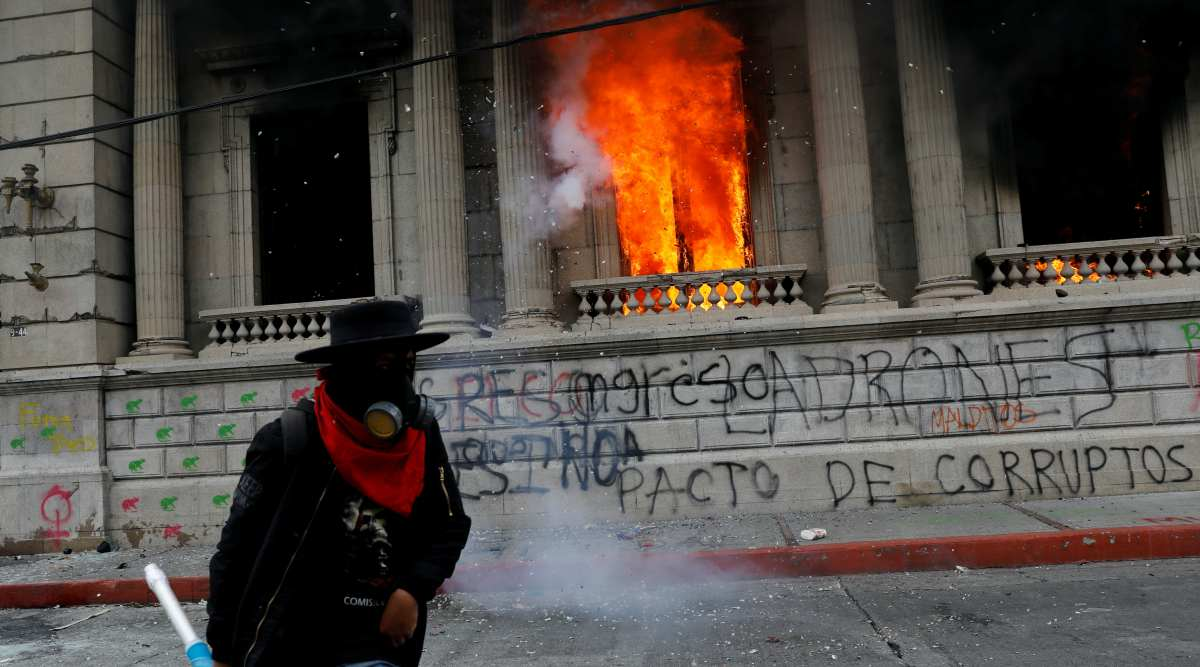 Guatemala congress building fire, Guatemala protest, world news, indian express