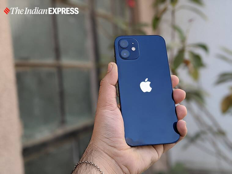 Phone 12 comes in a slimmer box because there's no power adapter or headphones in there. (Image credit: Anuj Bhatia/Indian Express)