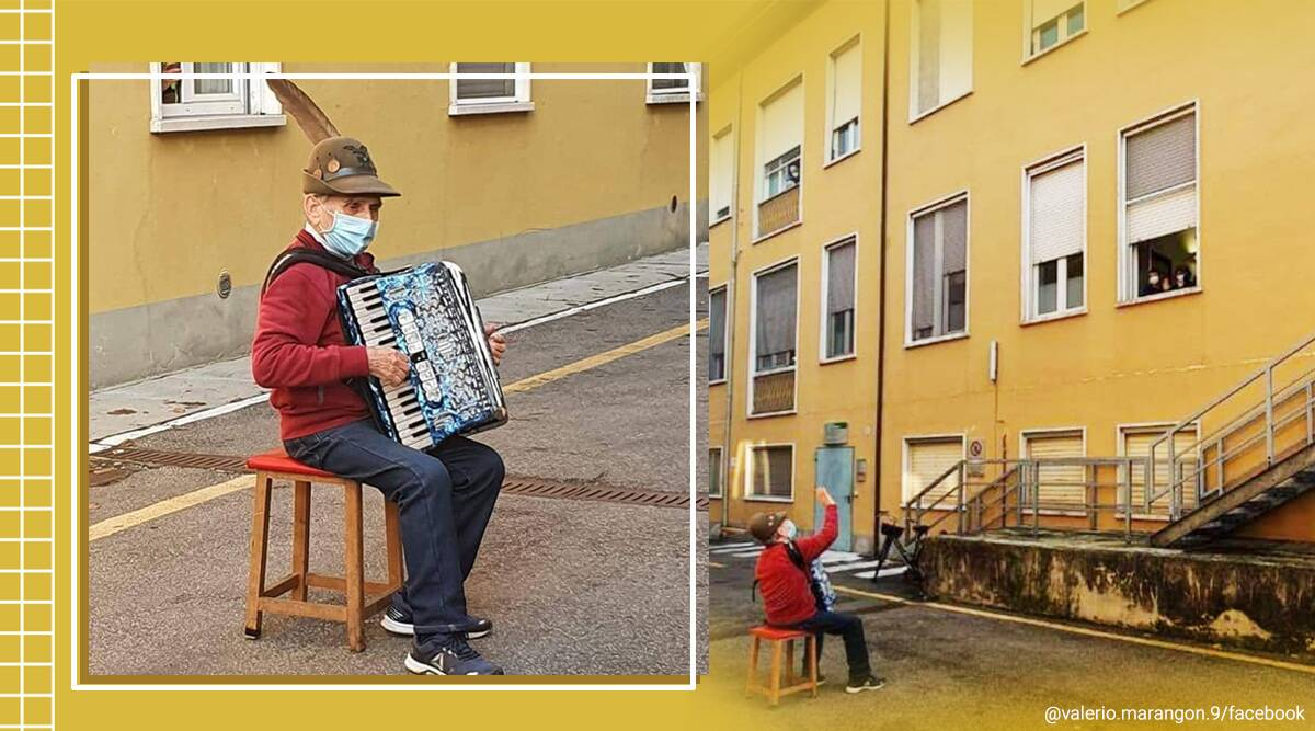 Italian man, accordion, 81-year-old playing accordion for wife, Italian plays accordion on street for wife, Viral video, Trending news, Indian Express news.