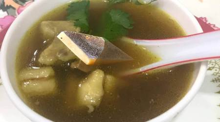 kaju katli soup, viral kaju katli chicken soup, kaju katli chicken soup and Twitter reactions, what is kaju katli chicken soup, indian express news