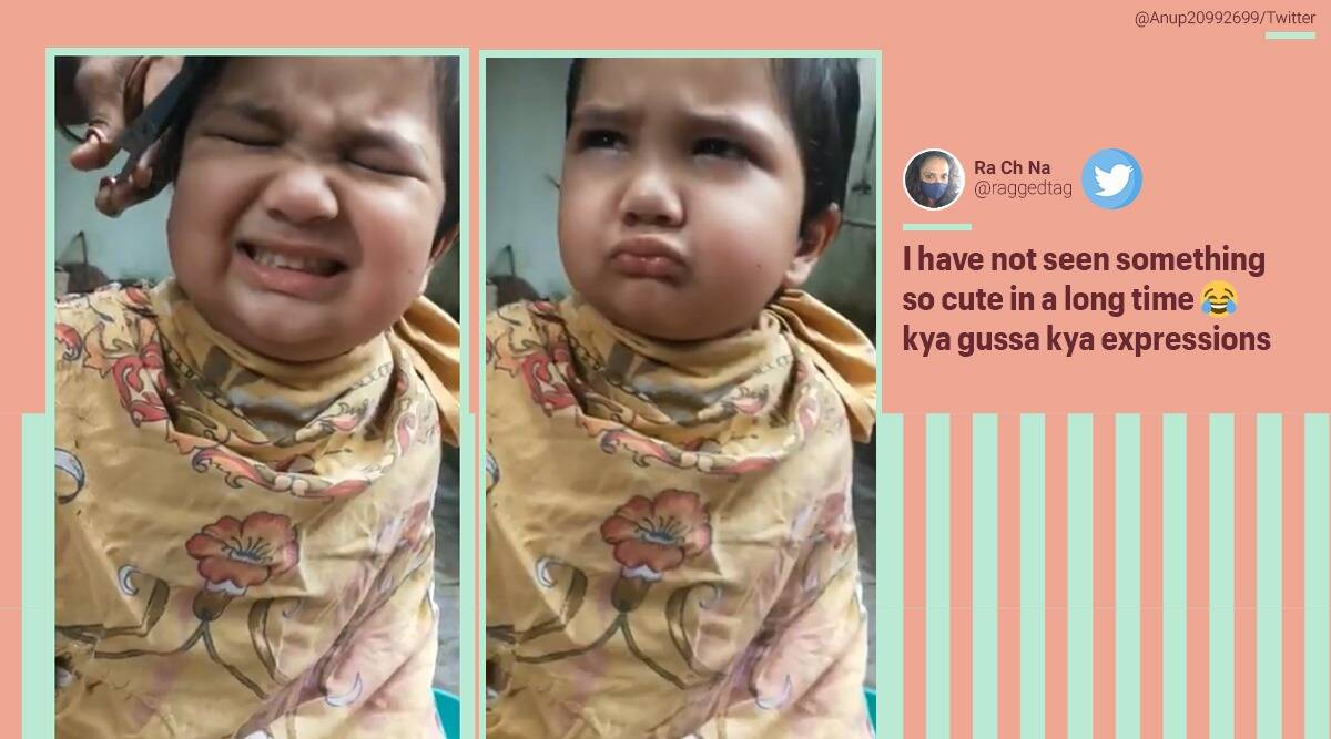 child upset with haircut, angry kid haircut video, kid angry over haircut video, Anushrut hair cut video, viral video, cute baby haircut videos, indian express,