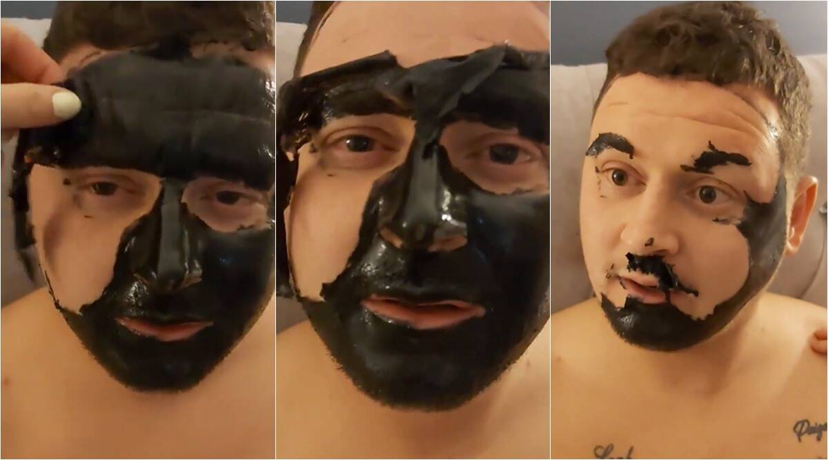 man lose eyebrows face mask, charcoal mask eyebrows lost, dad left without eyebrows black mask, face mask gone wrong, funny face mask fail videos, charcoal face mask fail viral video, indian express