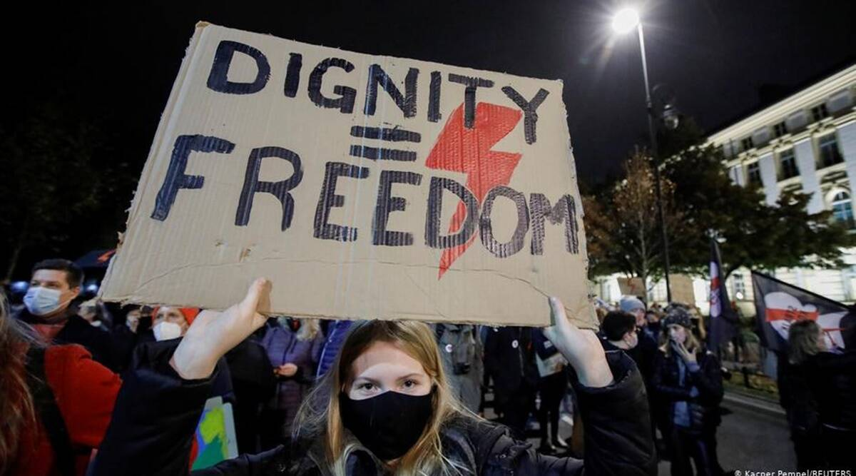 Poland protests, Poland abortion laws, Poland abortion law protests, Poland protests abortion law, abortion law Poland, abortion law protests Poland, World news, Indian Express