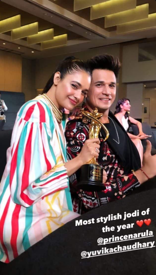 prince narula, yuvika chaudhary, Gold Glam and Style Awards