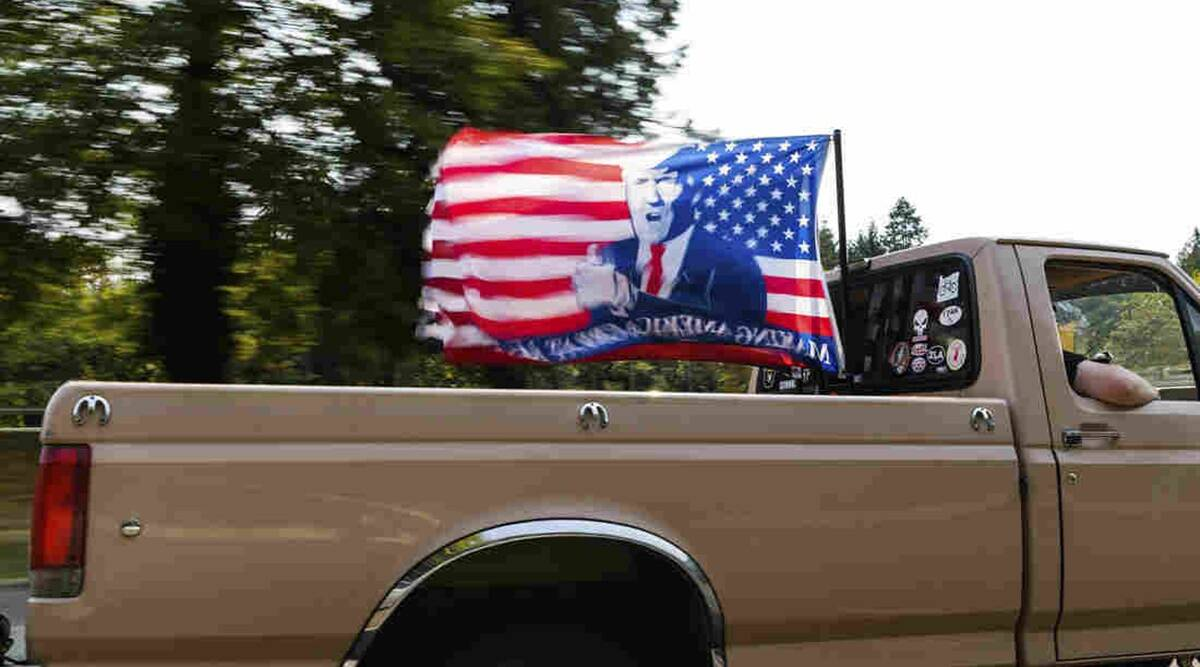 US elections, US elections 2020, US presidential elections, pro-Trump, pro-Trump flags, World news, Indian Express