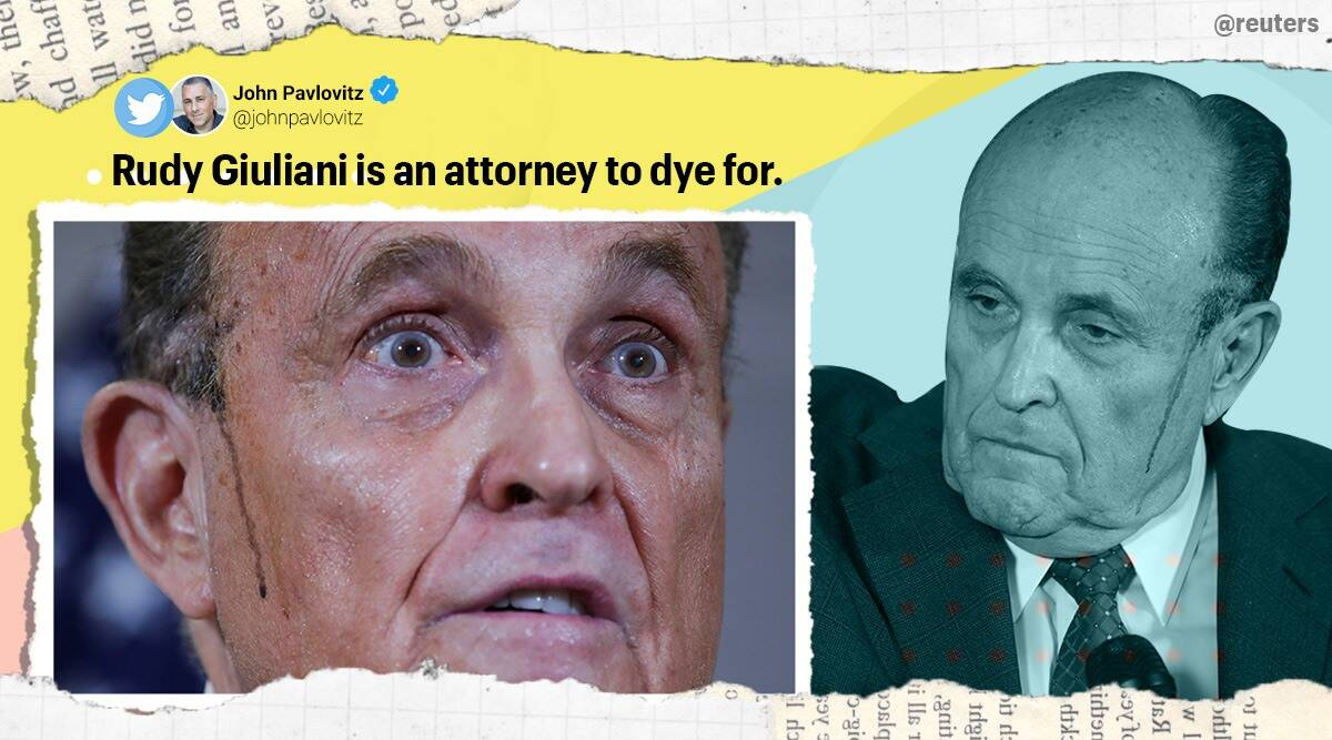 Rudy Giuliani, Rudy Giuliani hair dye, sweaty Rudy Giuliani, trump legal team press conference, trump voter fraud claim, us elections, us elections 2020, viral news, indian express