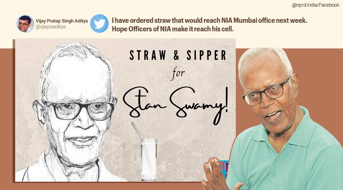 stan swamy, stan swamy parkinsons, stan swamy straw and sipper, NPRD sipper for stan, netizens order sipper for stan swamy, elgar parishad case, Bhima Koregaon case