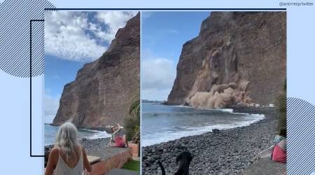 cliff collapse into sea, Canary Islands cliff collapse, cliff collapse viral video, cliff collapse caught on camera, landslide La Gomera, spanish island landslide video, La Gomera landslide video, viral videos, trending news, indian express