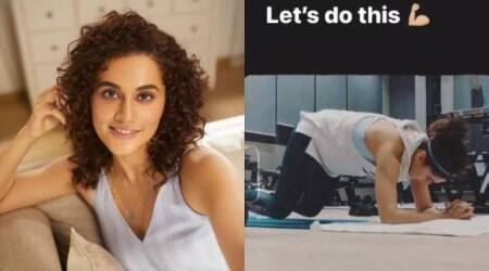 taapsee pannu, forearm plank