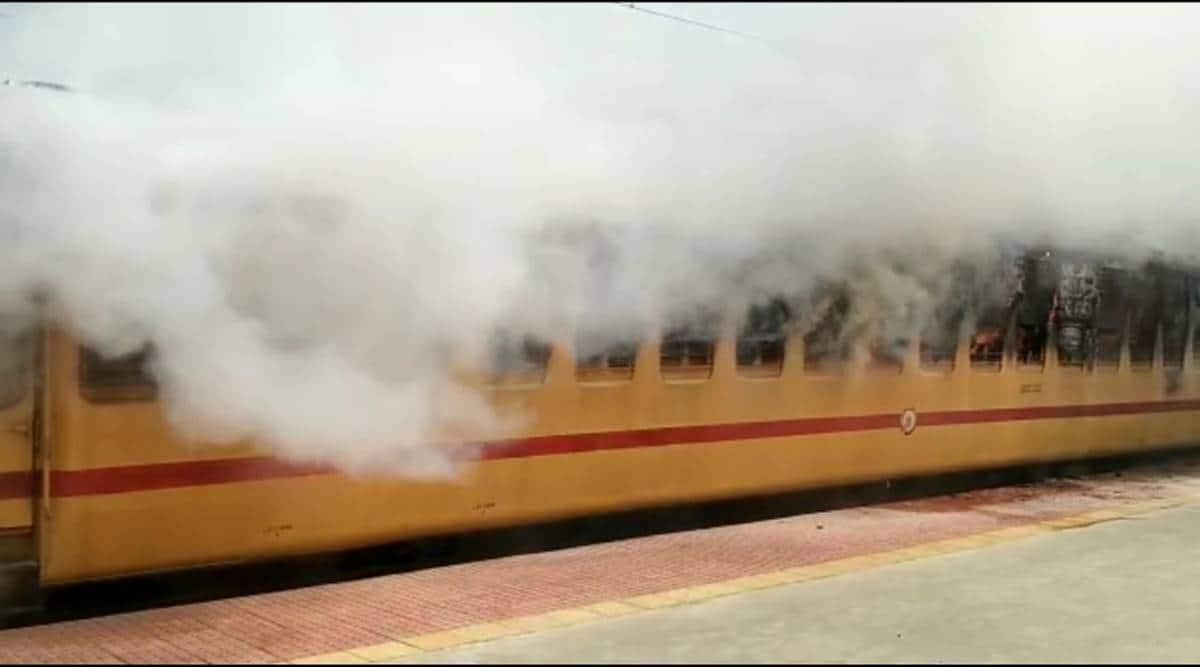 train fire, telangana train fire, medchal railway station, hyderabad news, indian express